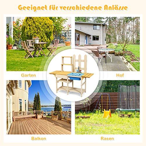 COSTWAY Matschküche mit Wasserhahn, Kinderküche, Outdoor Küche, Holzküche, Spielküche