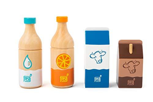 small foot 11438 Getränke-Set Fresh, aus Holz, Rollenspielzeug, Zubehör-Artikel für jeden Kaufmannsladen, 4-teilig Spielzeug, Mehrfarbig