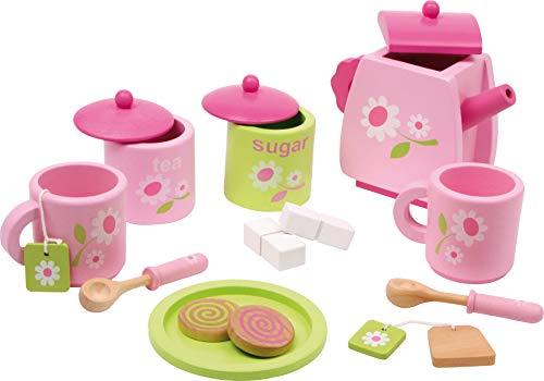 small foot 2849 Kinder Teeservice 'Blümchenmuster' aus Holz, Zubehör für die Kinderküche, 17-tlg., ab 3 Jahre