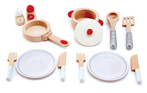 Hape Koch- & Servierset von Hape  13-teiliges Kochset für Rollen- und Fantasiespiele mit Zubehör aus Holz