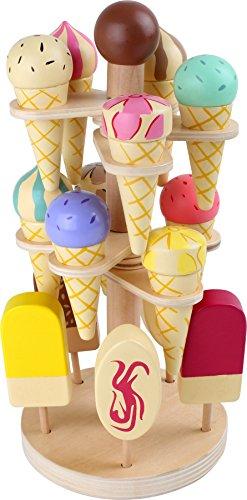 small foot 1248 Beweglicher Eisständer aus Holz, Zubehör für Kaufmannsladen und Kinderküche, 15 Sorten, ab 3 Jahren