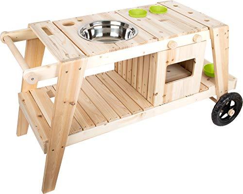 small foot 11665 Matschküche aus massivem und witterungsbeständigem Holz für Kinder ab 3, Outdoorküche mit Zubehör und Rädern Spielzeug