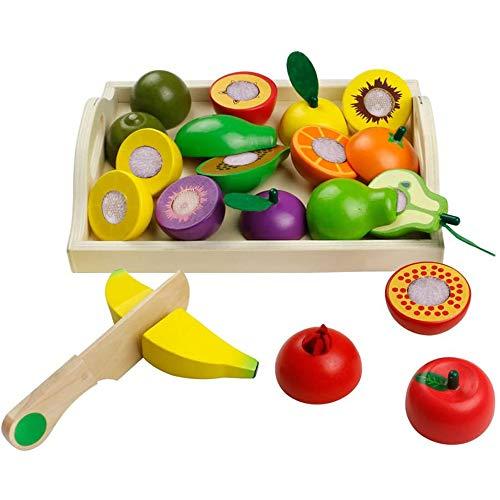 Kinderküche Zubehoer Spielzeug Kaufladen Holz Kaufmannsladen Zubehör Schneiden aus Holz Lebensmittel Rollenspiele Pädagogisches Spielzeug Geschenk für Jungen und Mädchen ab 3 4 5 Jahre (Mehrweg)
