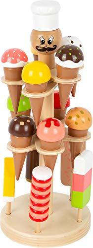 small foot 11859 Eisständer Luigi Gelato beweglich aus Holz, Zubehör für Kaufmannsladen/Kinderküche, mit 15 Eissorten Toys