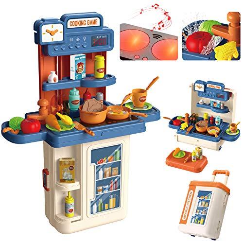 Kinderküche, 4 in 1 Trolley Koffer Spielküche inkl. Kochfeld mit Sound und Licht, Wasserhahn mit Wasser-Pump-Funktion, Kinderküche zubehör mit Spüle,Töpfen, Pfannen, Gewürze, Messer, Eier, Gemüse*