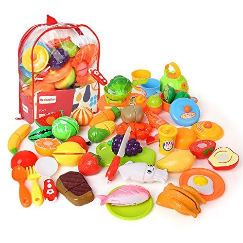 BeebeeRun kinderküche Schneiden Obst und gemüse Lebensmittel Spielzeug 3 Jahre Junge Mädchen,Rollenspiele,41-TLG