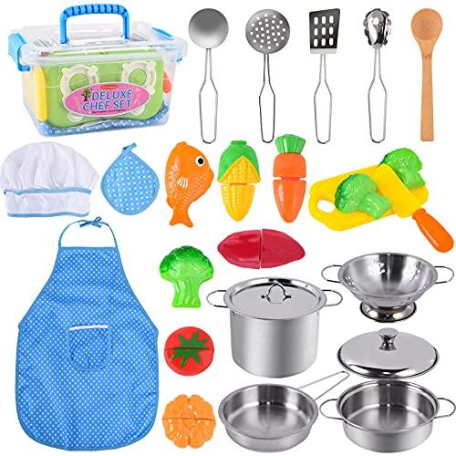 FORMIZON 25-Teiliges Küchenspielzeug Zubehör Kinderküche Kochgeschirr, Edelstahl Pfannenset und Kochmütze für Kinder mit Schürzen, Spielzeug Kinder Küchenspielzeug für Mädchen Jungen (A)