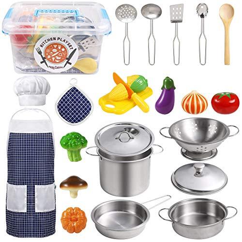 EFO SHM Küchenspielzeug Zubehör Kinderküche Kochgeschirr Edelstahl Pfannenset Schürze und Kochmütze für Gemüse Pretend Spielzeug Rollenspiele Mädchen und Jungen