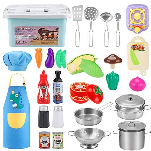 JYToyz Küchenspielzeug Zubehör Kinderküche Kochgeschirr Edelstahl Pfannenset Schürze und Kochmütze, 30 Stück Kinderküche Spielzeuge Gemüse Pretend Spielzeug für Kinder Mädchen und Jungen