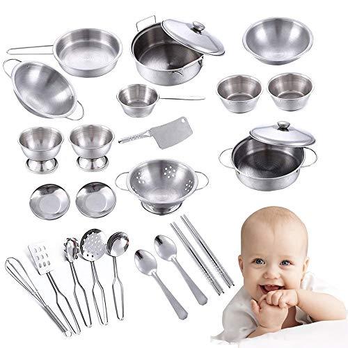 Küchenspielzeug Zubehör kinderküche Edelstahl Kochgeschirr topfes Kochgeschirr Pfannenset für Mädchen und Jungen ab 3 Jahren