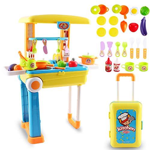 deAO SC-KB 2-in-1 Tragbares 'My Little Chef' Küchenset Koffer Spielset mit Sound, Licht und Zubehör enthalten (gelb), 3-5 Jahre*