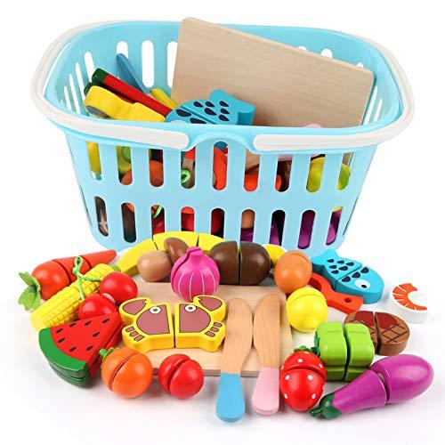 BeebeeRun Kleinkinder Spielzeug 3 Jahre Mädchen Junge,Schneiden Kinder,Schneiden Obst Gemüse Lebensmittel Holz mit Klett-Verbindung,Küchenspielzeug,Rollenspiele ,Geschenk,25-TLG
