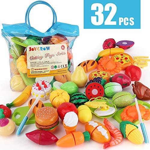 JoyGrow 32 Stück Lebensmittel Spielzeug Obst Gemüse Spielzeug Rollenspiele Pädagogisches Küchenspielzeug Zubehör ,Kinderküche Simulation für Kinder ab 3 Jahren Mädchen