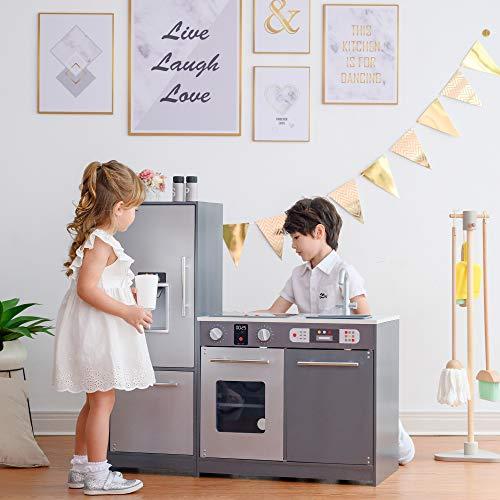 Teamson Kids Milano Kinder Holz Spielküche & 10 Zubehör Grau TD-13397B