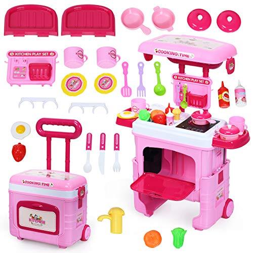 COSTWAY 2 in 1 Kinderküche Kofferset mit Lichter, Soundeffekt und Stauraum, Kinder Rollenspiel Spielzeug Küchenset höhenverstellbar, Kinder Spielküche rollbar, inkl. Zubehör*