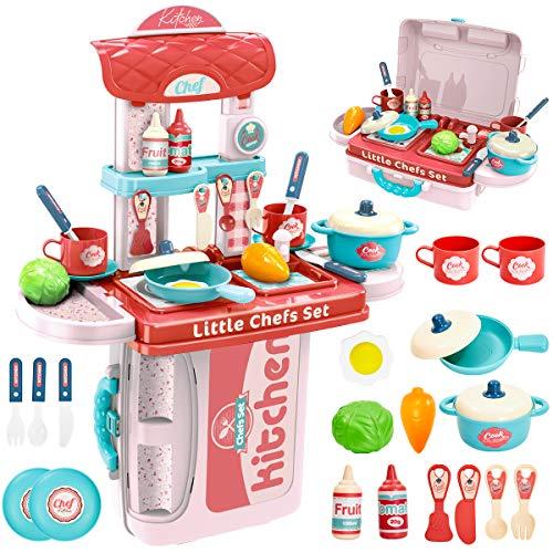 BUYGER 3 in 1 Küchenspielzeug Zubehör Kinderküche Spielküche Kinder Kochgeschirr Topfset Lebensmittel Rollenspiel Spielzeug für Jungen Mädchen ab 3 Jahre*