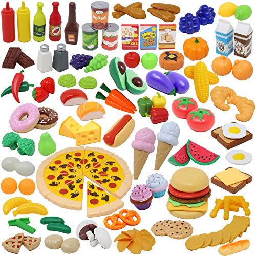 JOYIN 135 Stück Küchenspielzeug Set, Schneiden Obst Gemüse Lebensmittel Küche Kinder Kleinkinder Pädagogisches Lernen Spielzeug, Rollenspiele, Geschenk