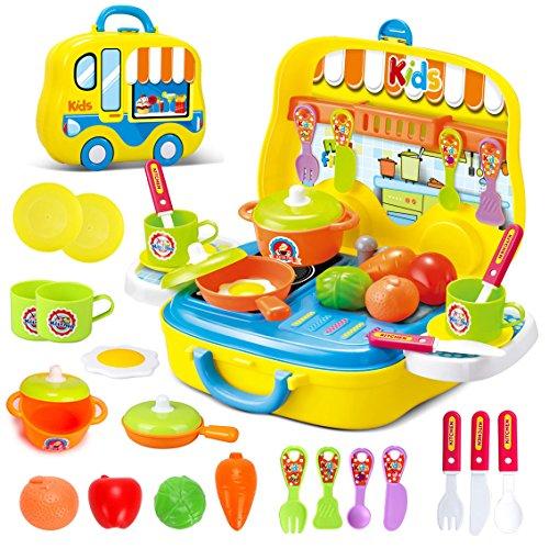 Dreamon Rollenspiel Küche Spielzeug Kinder Kochen Lebensmittel Spielset für Kleinkind Mädchen 3 Jahre alt,Gelb*